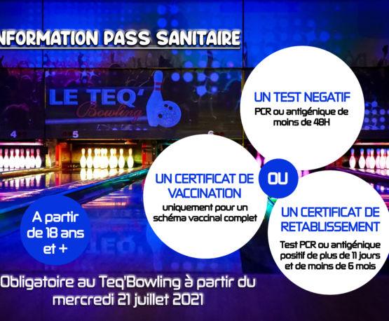 Le Teq'Bowling : pass sanitaire !